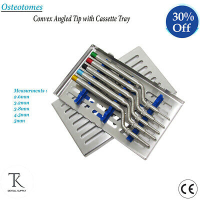 Dental Implants Bone Surgery Osteotomes Offset Convex Angled Tip With Cassette