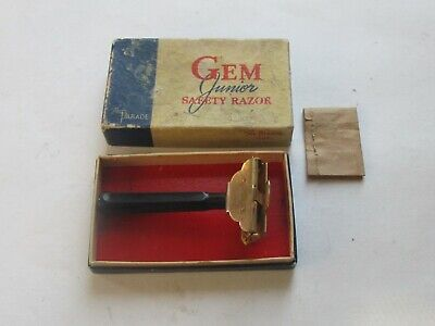 Vintage Gem Junior Safety Razor The Parade Box 3 Treet Blades Bakelite Handle