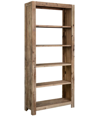 Chunky Rustic Bookcase Antique Solid Wood Tall Storage Cabinet Large Shelving