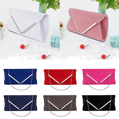 Suede Wedding Ladies Evening Handbag Wedding Party Clutch Bag Women Purse UK