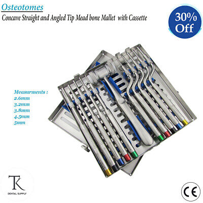 Dental Osteotomes Concave Straight & Angled Tip With Cassette