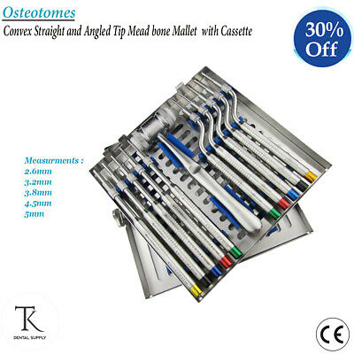 Dental Implants Bone Surgery Cassette Of Osteotomes Straight & Angled Convex Tip