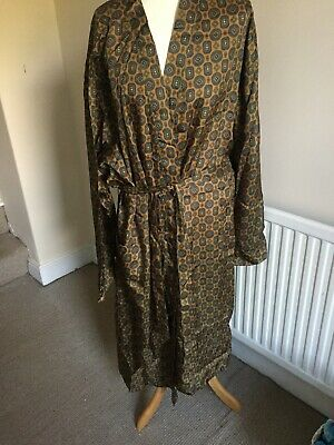 Buckingham Of London Dressing Gown M-L. Gold/blue/green. Vintage.