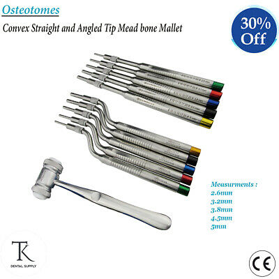 Dental Osteotomes Convex Straight & Angled Tip Mead Bone Mallet