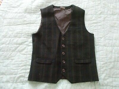 Boy's Brown Check  V Neck Waistcoat Vest By Signature Next Age 13