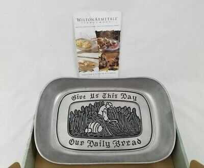 """Wilton Armetale Elegant Pewter Bread Tray """"GIVE US THIS DAY OUR DAILY BREAD""""New"""