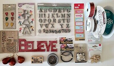 Mixed Lot of Craft Supplies - Stamps, Ribbon, Wire, Wood Pieces, New & Used
