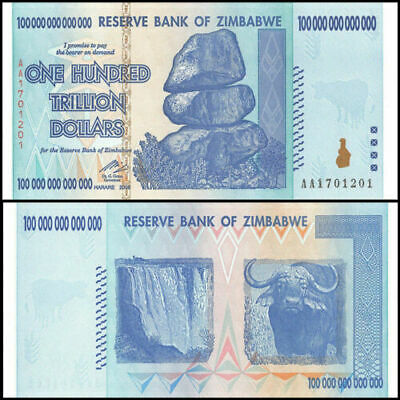 2008 Zimbabwe 100 TRILLION DOLLAR BILL AA, UNC P-91, GEM UNCIRCULATED, AUTHENTIC