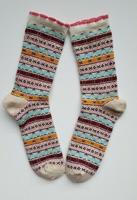 Girls/Kids Socks  Age 9-11 Years Fair Isle/Nordic Beige Multi Color Socks 1 Pair