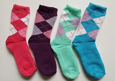 4 Pairs Girls/Kids Socks Age 9-11 Years Pink/Green/Purple/Blue Terry Towelling