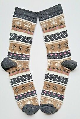 Girls/Kids Socks  Age 9-11 Years Fair Isle/Nordic Grey Pink Beige Socks 1 Pair