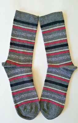 Girls / Kids Socks  Age 7-9 Years Grey Pink Black Striped Socks 1 Pair