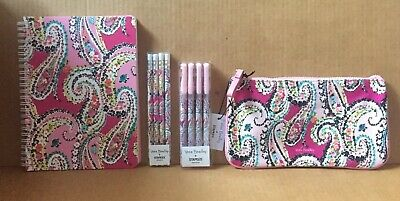 Vera Bradley Gift Set w/Mini Notebook, Pencil Pouch, Gel Pens, Mech Pencis