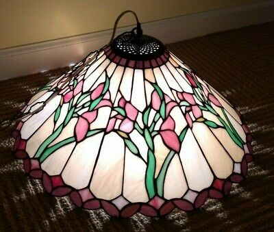 Vintage Stained Glass Hanging Lamp 94 79 Picclick