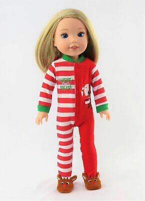 """Santa Reindeer Pajamas For Wellie Wishers 14.5"""" American Girl Doll Clothes"""