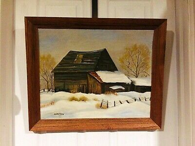 Original Vintage  Oil on Panel Painting-House Barn Winter Scene Landscape,Signed