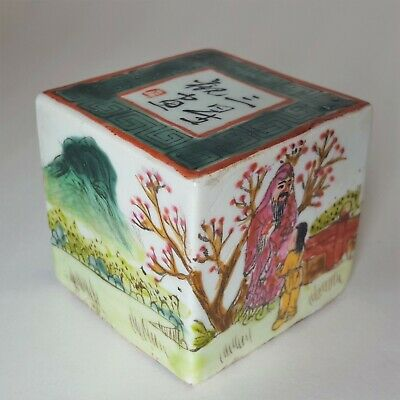 Vintage Painted Porcelain Chinese Cube Stamp Stamping Tool Seal Stone