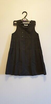 M&S Girls School Pleated Pinafore Dress Double Breasted Ages 4 year Grey