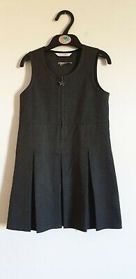 M&S Girls School Uniform Grey Pleated Pinafore Dress Age 4