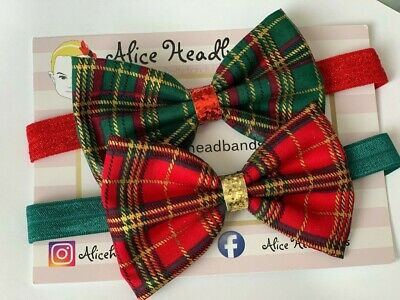 Tartan Fabric Bow Baby Headband Soft Elastic Glitter Baby Girls Christmas + Lot