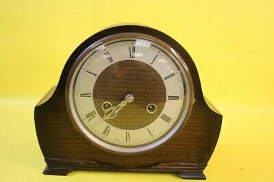 Vintage Wooden Mantelpiece Clock with Chimes ##RUF 40 MW