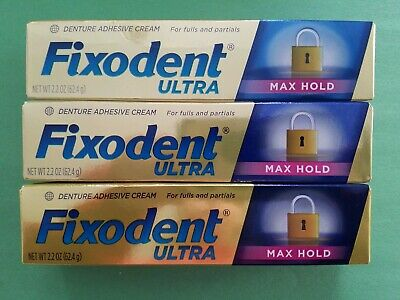 3 Pack Fixodent Ultra Denture Adhesive Cream 2.2 oz Free Shipping