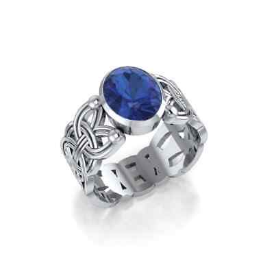 Courtney Davis Viking Borre Knot Ring Created Sapphire .925 Sterling Silver