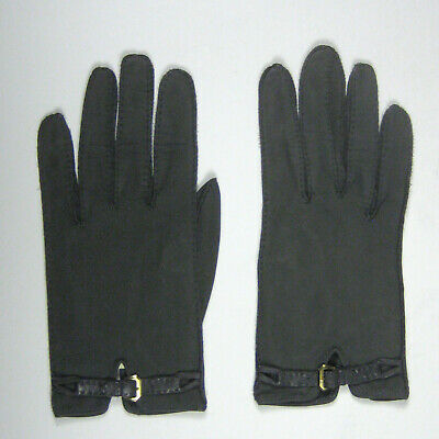 Veau Velour Womens Gloves Size 6.5 Leather 7.75 In Green Gray Worn Buckle France