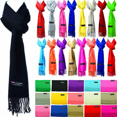 For Womens Mens Winter 100% Cashmere Solid Scarf Scotland Made Scarves Wool Wrap