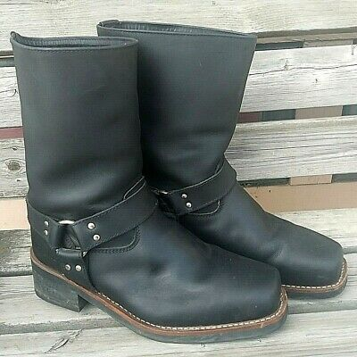 BIEKER Harness Motorcycle Mens Size 11.5M Black Leather Square Toe Cowboy Boots