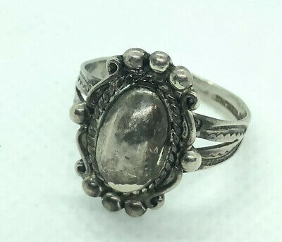 "Fine Antique Victorian Bohemian Sterling Silver Ornate Unique ""stone"""