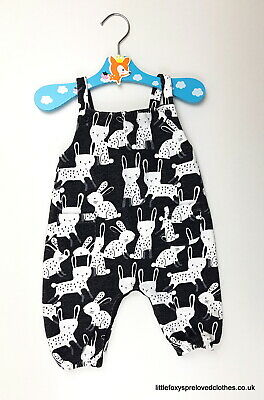 up to 3 month Next baby girl bunny playsuit jumpsuit black white romper