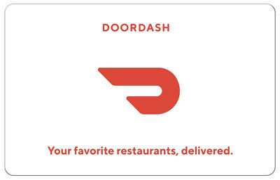 DoorDash Gift Card - $25 $50 or $100 - Fast Email delivery