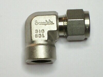 """1 - Swagelok Elbow Connector Fitting, 3/8"""" Tube x 1/4"""" Female NPT,  SS-600-8-4"""
