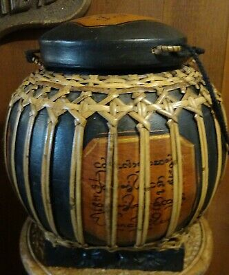 Antique Chinese Hand made Wood domed Rice bucket/Wedding Basket/wooden ware