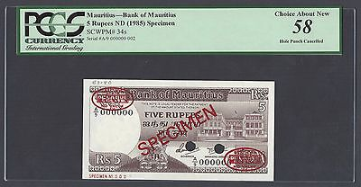 Mauritius 5 Rupees ND(1985) P34s Specimen TDLR N2 About Uncirculated