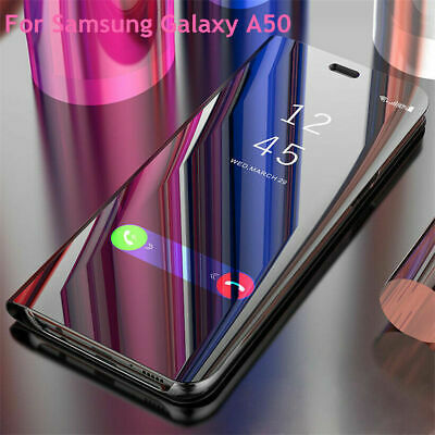 Fits Samsung Galaxy A50 A30 Luxury Mirror Flip Case Smart View Stand Cover