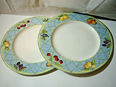 """SET of 2 Mikasa Optima FRUIT RAPTURE Dinner Plates 10 7/8"""" more available y001"""