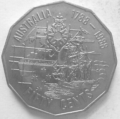 1988 50c.First Fleet Bicentenary.EF.50 cent(Lot1E1019p)Free Postage