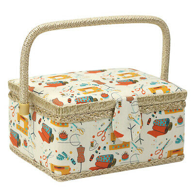 Sewing Box Basket Fabric Craft With Handle Gift Home Handmade Floral Print