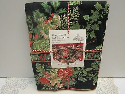 April Cornell NWT Merry Black Holiday Border Floral Print 60 x 84 100% Cotton