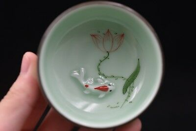 Chinese porcelain hand painted fish and lotus kung fu tea bowl