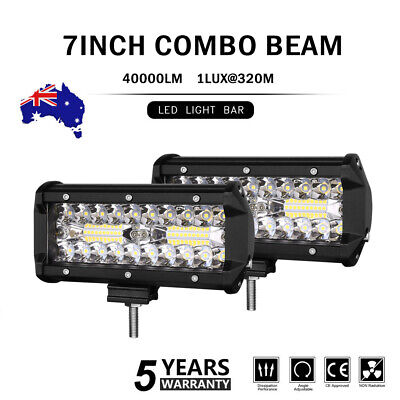 7inch LED Light Bar SPOT FLOOD COMBO 3 Rows Pods Driving Offroad Work Fog Lamp