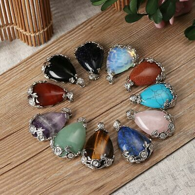 Crystal Stone Natural Quartz Opal Turquoise Necklaces Pendants Amethyst Agate