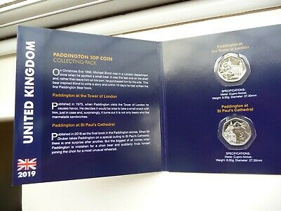 2019 Paddington Bear 50p Collector Album With Both Pair Of Coins Included - New.