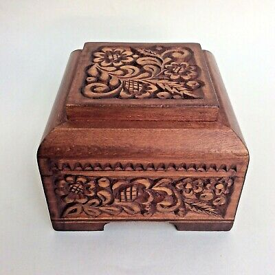 Vintage Hand Carved Small Wooden Trinket Box Hinged Lid Signed & Dated