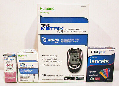 True Metrix Air Blood Glucose Monitor / Test Strips / Lancet - New - Unopened
