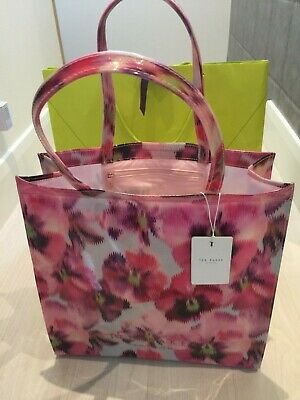 TED BAKER Large PVC Floral Pansy Shopper Tote Bag Logo : Valentines Gift :  New