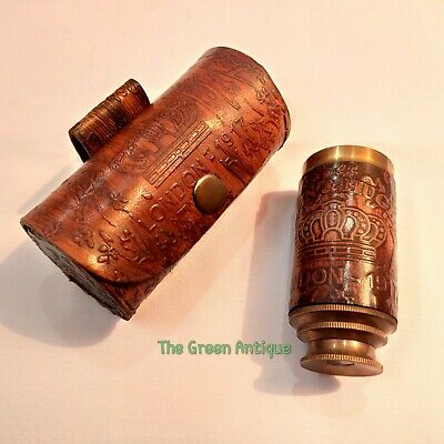 Antique Brass Telescope With Leather Box Vintage Maritime