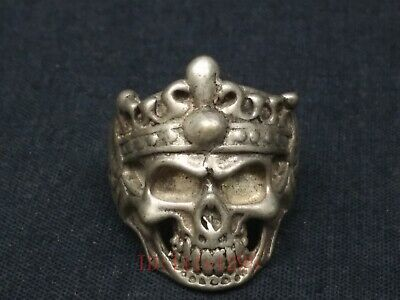 Collect Old China Tibet Silver Handmade Exorcism Skull Rings Selfdom Decoration